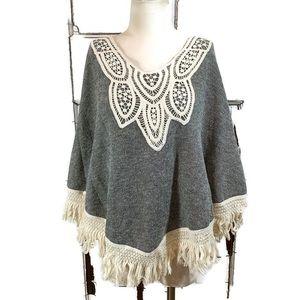 Orange Creek gray fringe crochet shawl top medium